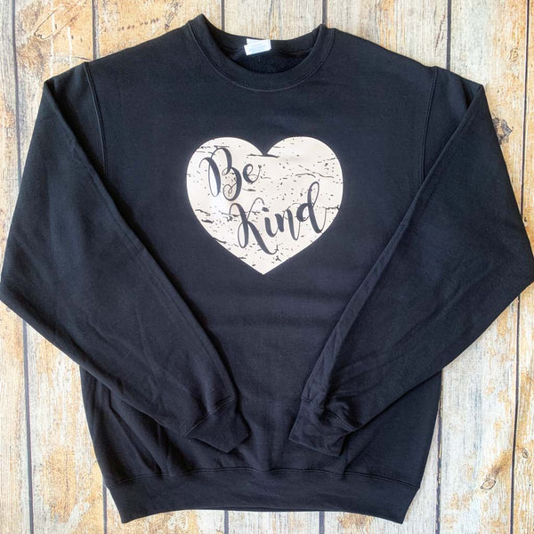 Distressed Vinyl Heart Crewneck Sweatshirt Navy