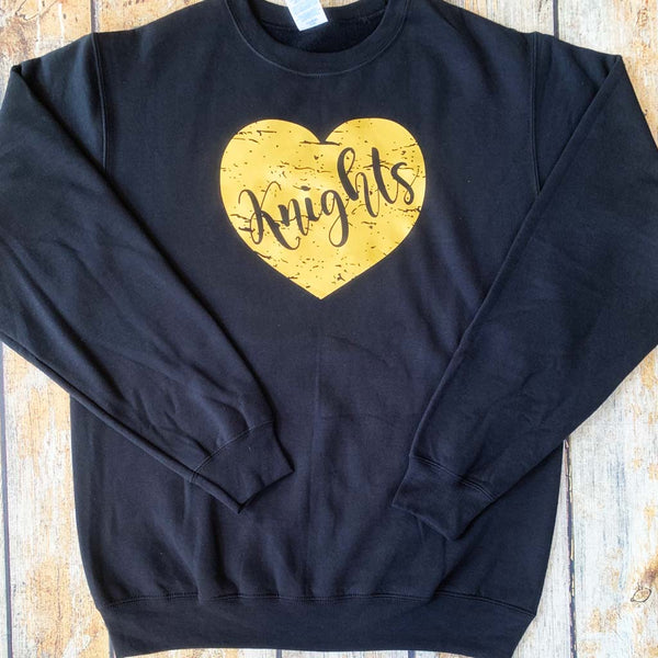 Distressed Vinyl Heart Crewneck Sweatshirt Gold Heart