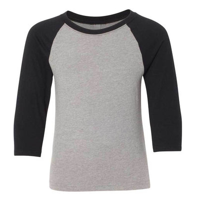 Personalized Youth Raglan Tee - Grey & Black