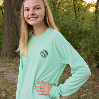 Embroidered Monogram Adult Long Sleeve Tee