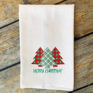 Sublimated Vintage Plaid Merry Christmas Hand Towel