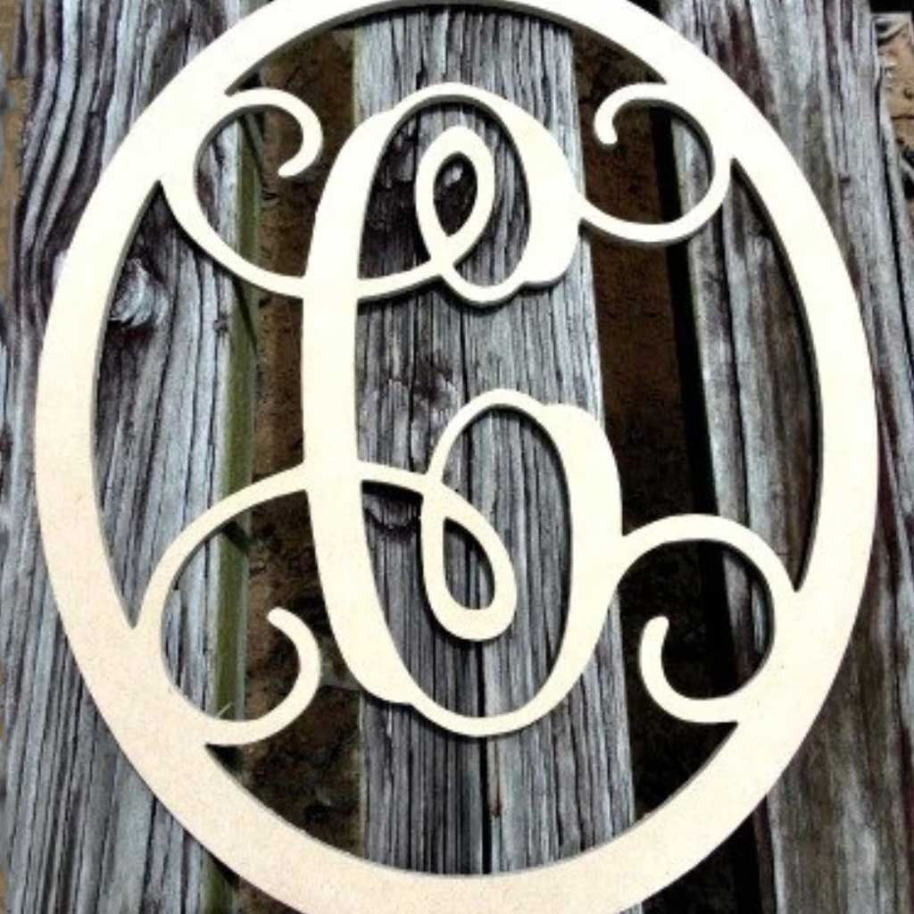 Oval Initial Wood Hanging Unfinished