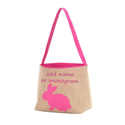 Embroidered Pink Bunny Burlap Easter Basket