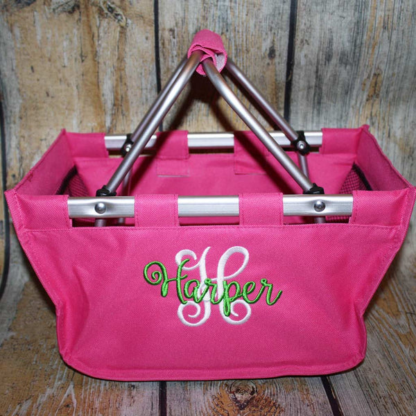 Hot Pink Market Tote with Name and Initial