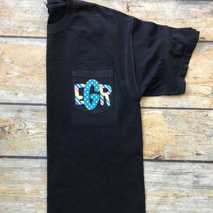 Sublimated Monogram Pocket Tee in Black