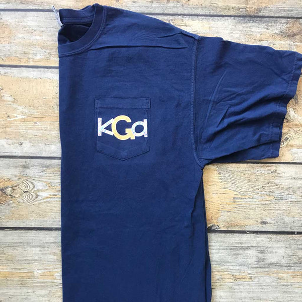 Sublimated Monogram Pocket Tee in China Blue