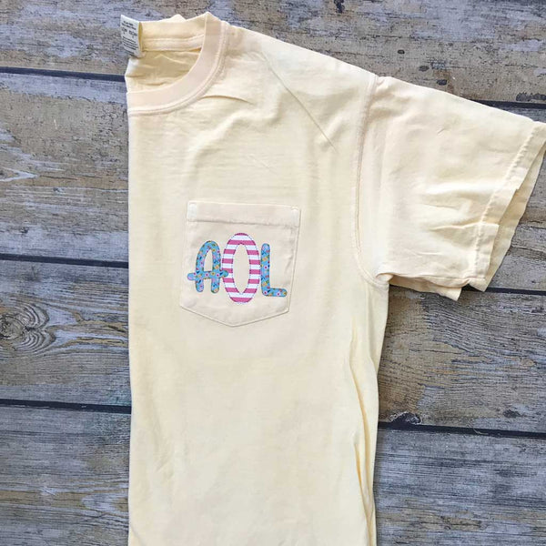 Sublimated Monogram Pocket Tee in Ivory