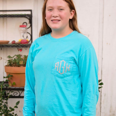 Embroidered Monogram Adult Long Sleeve Pocket Tee