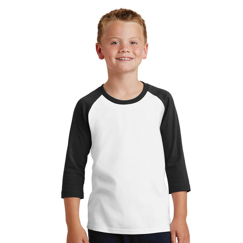 Personalized Youth Raglan Tee - White & Black