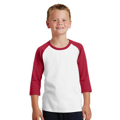 Personalized Youth Raglan Tee - White & Red