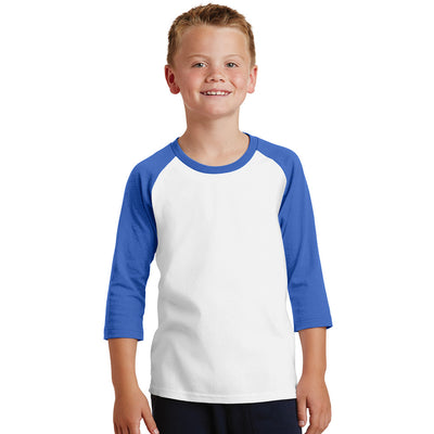 Personalized Youth Raglan Tee - White & Royal