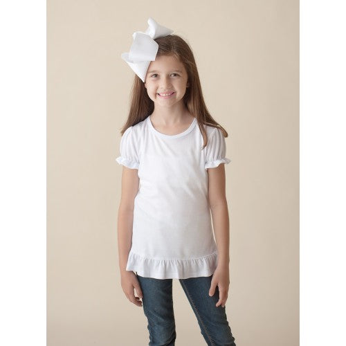 Girls Puff Sleeve Personalized Tee Ruffle Bottom