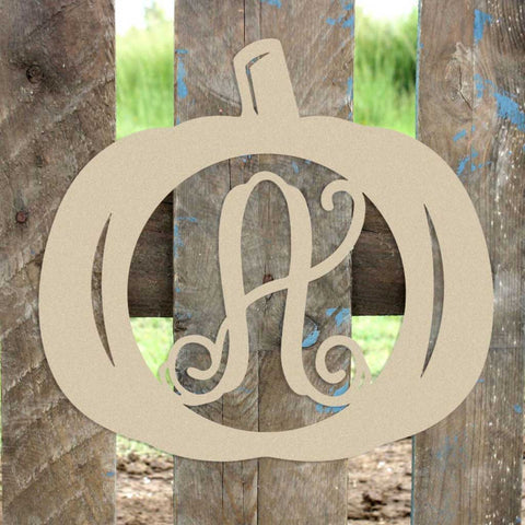 Pumpkin Initial Wall Hanging Unfinished