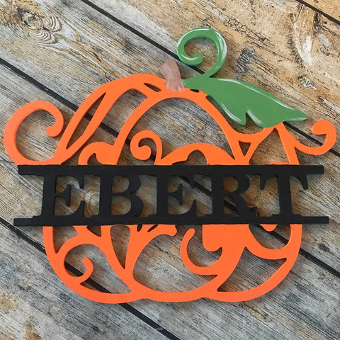 Wood Vine Pumpkin with Name Hanging