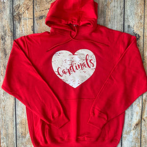 Distressed Vinyl Heart Hoodie Sweatshirt