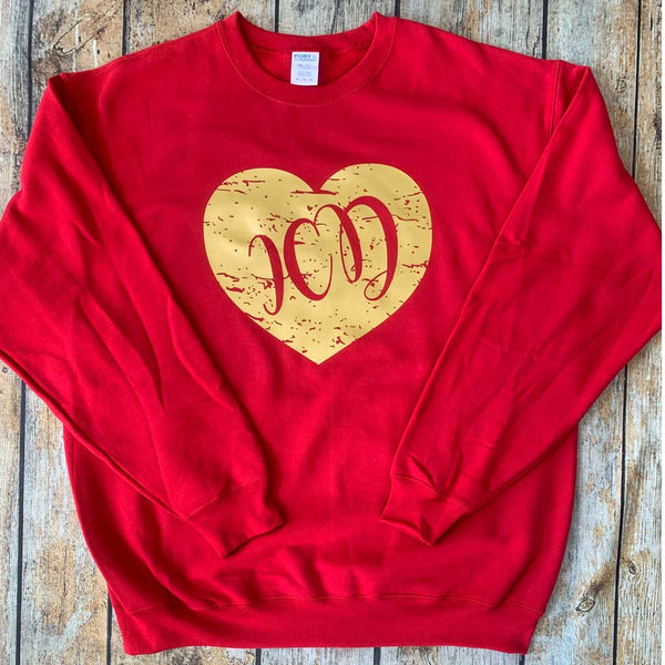 Distressed Vinyl Heart Crewneck Sweatshirt Red