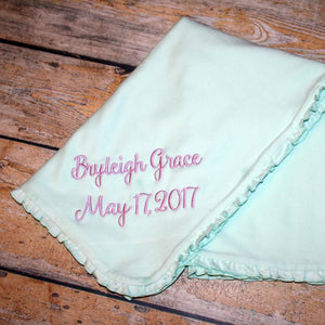 Embroidered Name and Birth Date Baby Blanket