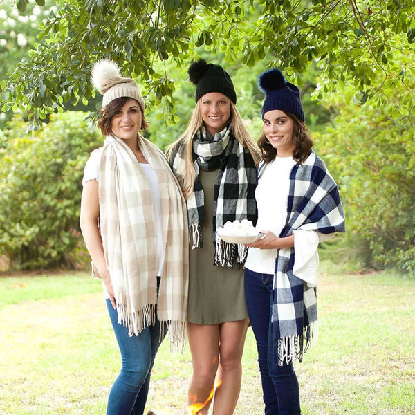 Embroidered Buffalo Plaid Scarf Collection