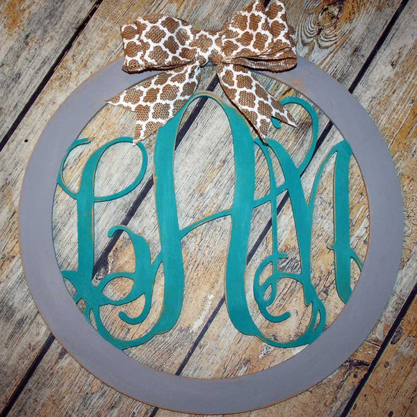 Script Monogram Hanging in Teal and Grey