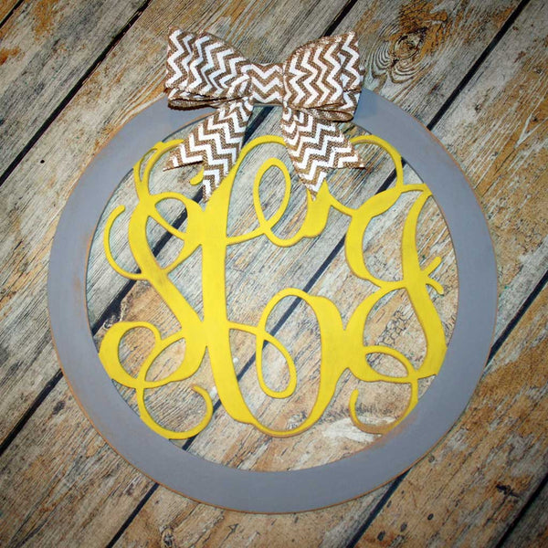 Script Monogram Hanging in Yellow and Grey