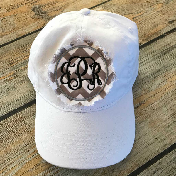 Shabby Patch Monogram Hat in White