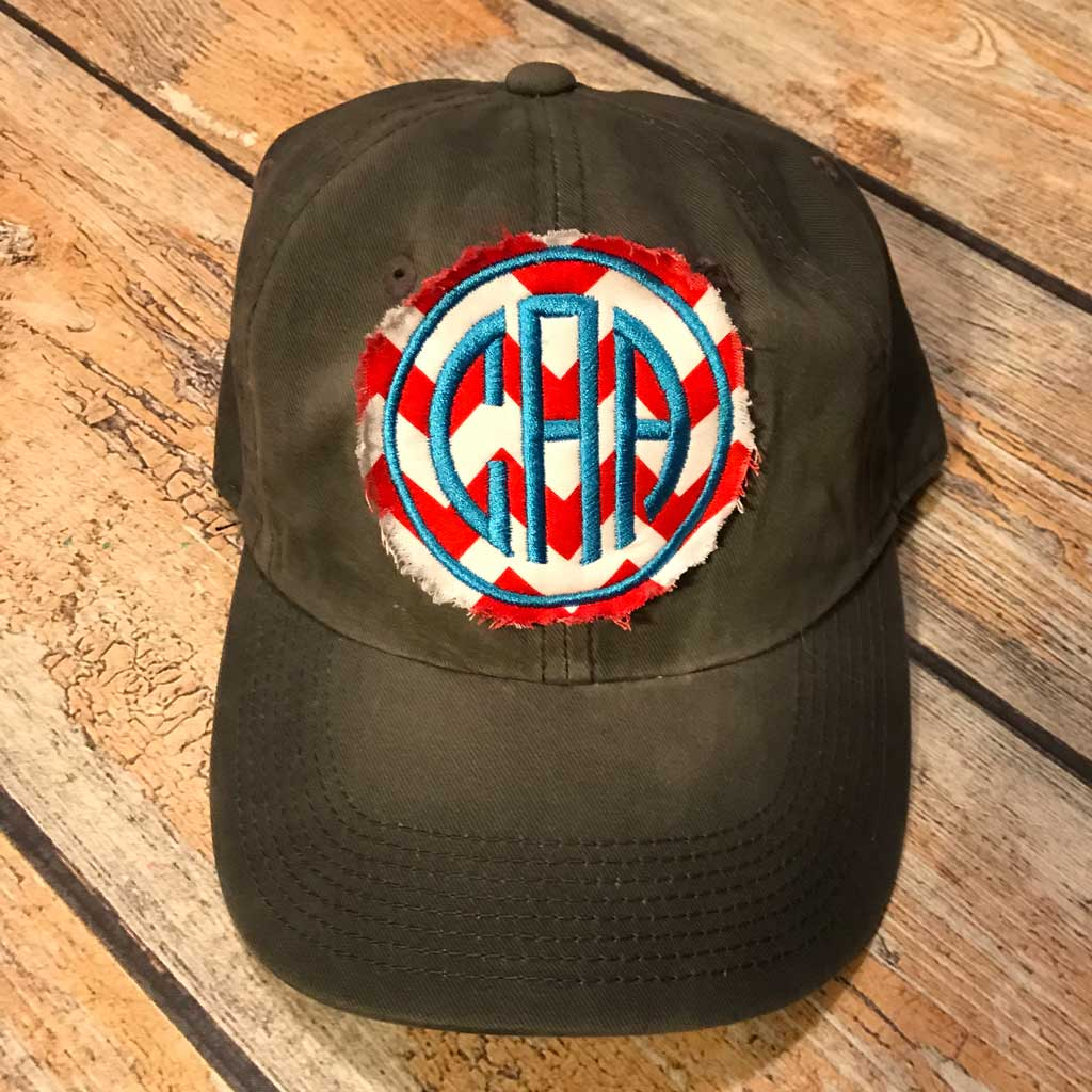 Shabby Patch Monogram Hat in Black