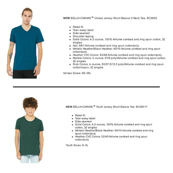 Youth and V-neck Shirt Specs