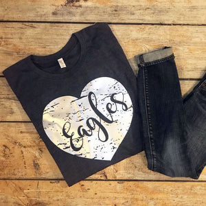 Distressed Heart Tee in Silver