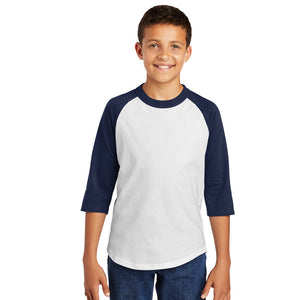 Personalized Youth Raglan Tee - White & Navy
