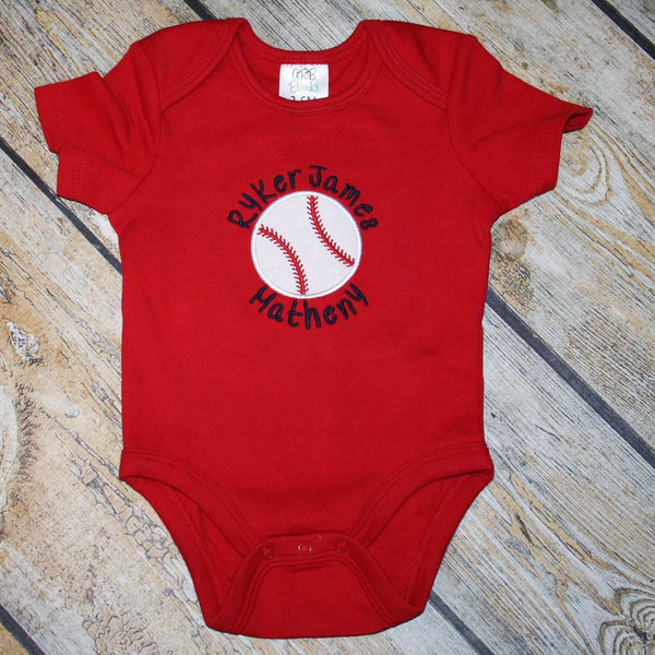 Bodysuit with Baseball Applique Design