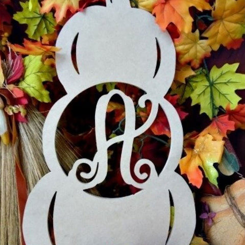 Stacked Pumpkin Initial Wall Hanging Unfinished