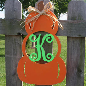 Stacked Pumpkin Initial Wall Hanging
