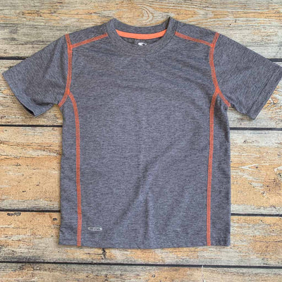 Personalized Youth Short Sleeve Tee - Grey With Orange Stitch