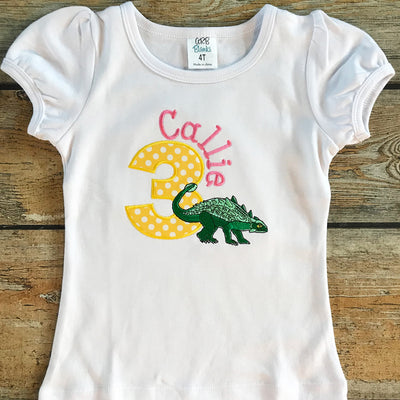 Children's Embroidered Stegosaurus Birthday Tee