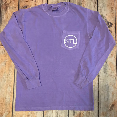 STL Vinyl Design Long Sleeve Pocket Tee