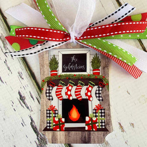 Christmas Stockings on Fireplace Metal Ornament
