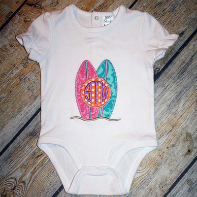 Bodysuit with Surfboard Applique Design