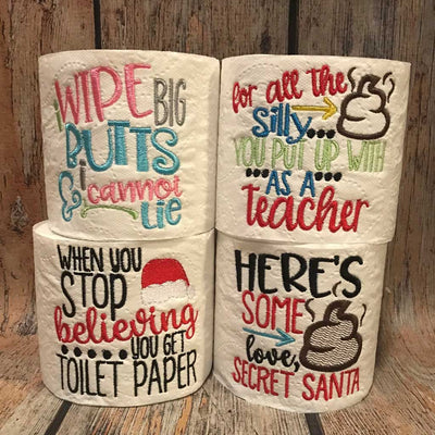 Samples of Embroidered Toilet Paper