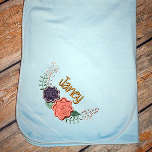 Embroidered Two Flower Swag & Name Baby Blanket