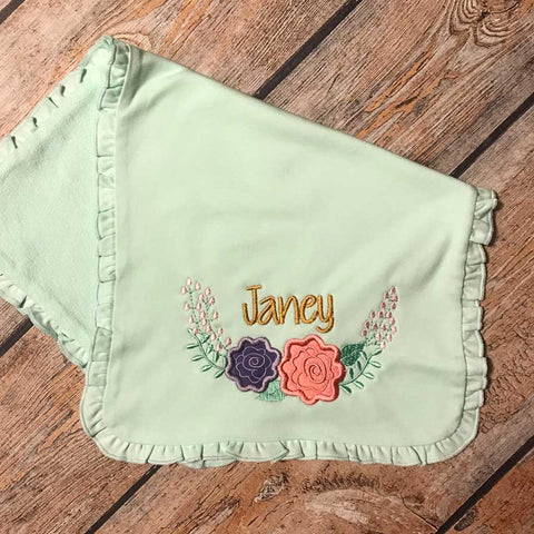 Embroidered Two Flower Swag & Name Burp Cloth