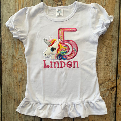 Short Sleeve Embroidered Unicorn Birthday Shirt