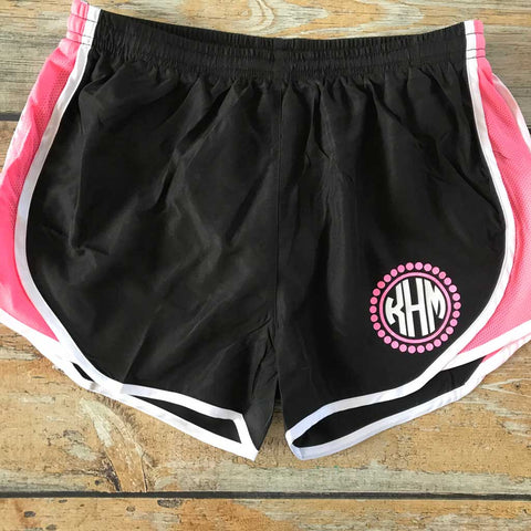 Vinyl Monogram Running Short in Black/Pink