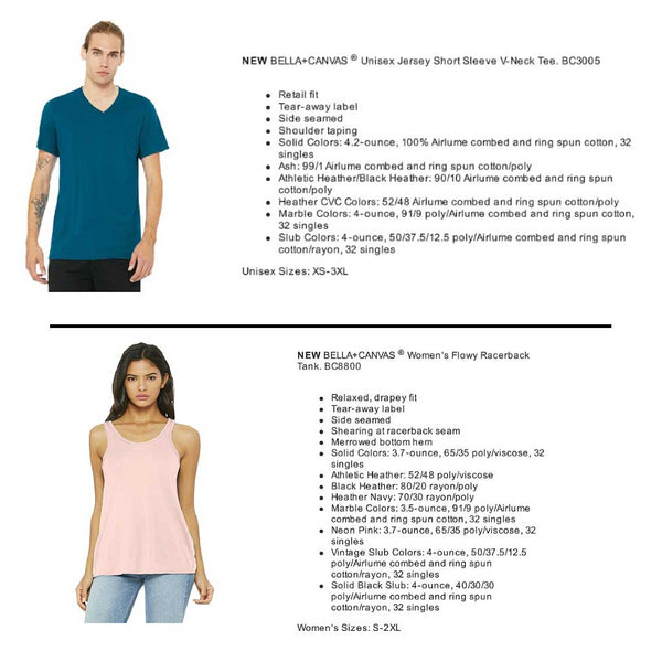 V-Neck and Flowy Tank Specs
