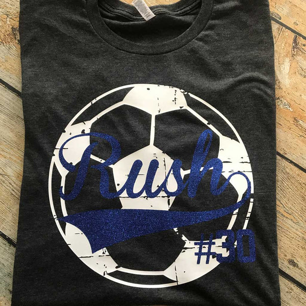 Distressed Sports Ball Tee Blue Writing