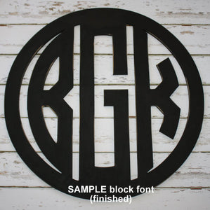 Monogram with Border Wall Hanging in Black