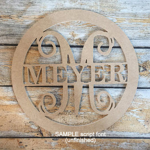 Unfinished Wood Circle Name Hanging