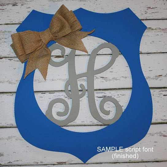 Police Badge Initial Wall Hanging in Blue and Silver