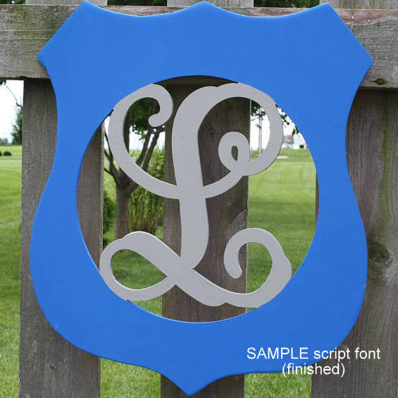 Police Badge Initial Wall Hanging in Blue and Silver no Bow
