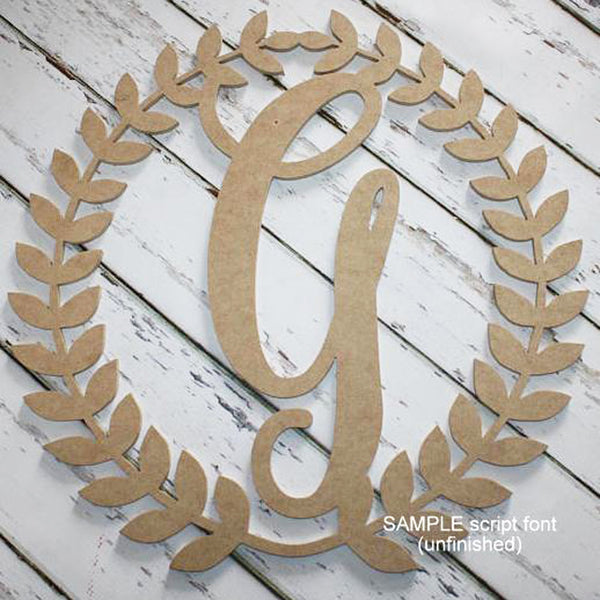 Roman Wreath Initial Wall Hanging Unfinished