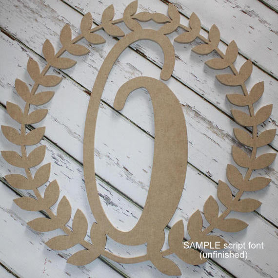 Wood Roman Wreath with Initial (unfinished)